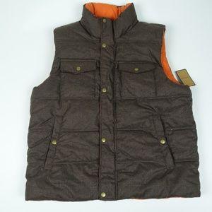 G.H. BASS Reversible Winter Vest Brown Orange NWT